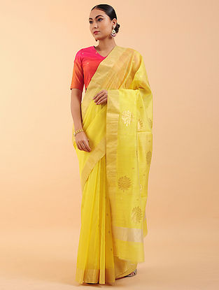Lemon Yellow Chanderi Silk Saree