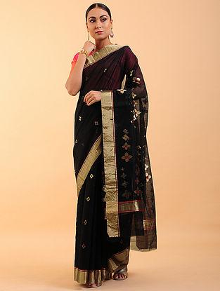 Black-Bronze Chanderi Silk Saree