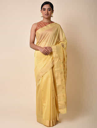 Yellow Handwoven Chanderi Saree with Zari
