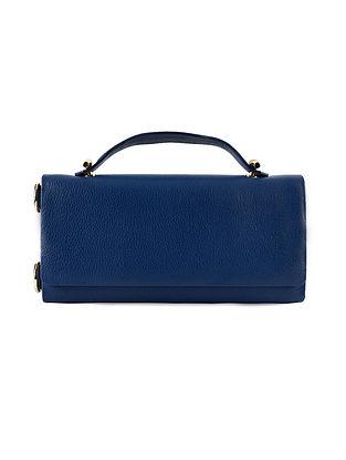 Navy Blue Genuine Leather Wallet Sling Bag