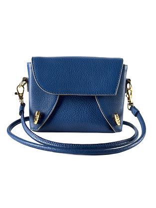 Navy Blue Genuine Leather Sling Bag