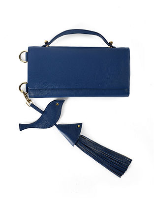 Navy Blue Genuine Leather Wallet Sling Bag