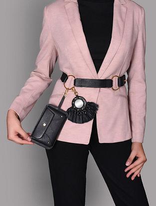 Black Genuine Leather Mobile Belt Bag