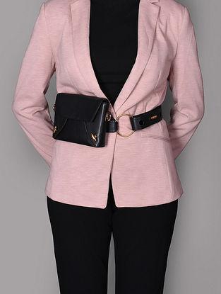 Black Genuine Leather Sling Cum Belt Bag