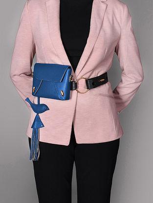 Navy Blue Genuine Leather Sling Cum Belt Bag