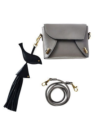 Taupe Genuine Leather Sling Bag