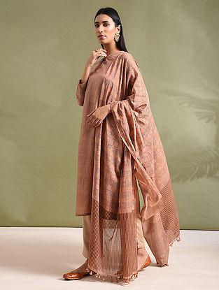 Beige Block-printed Silk Cotton Dupatta