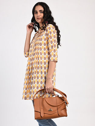 Beige-Yellow Block-Printed Cotton Tunic
