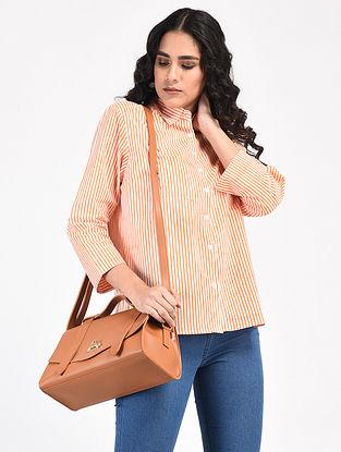 Ivory-Orange Block-Printed Cotton Top