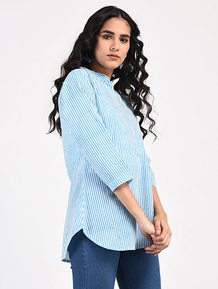 Ivory-Blue Block-Printed Cotton Top