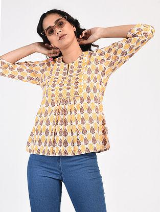 Beige-Yellow Block-Printed Cotton Top