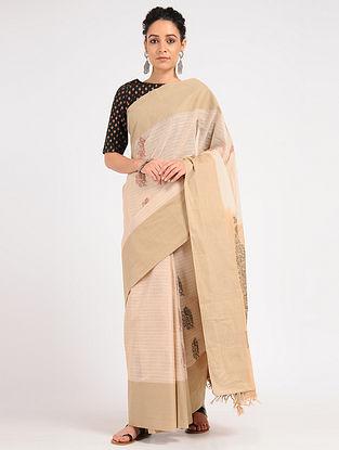Beige Kanjivaram Cotton Saree