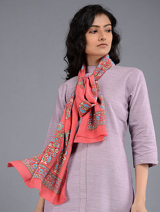 Pink-Blue Block-printed Crepe Stole
