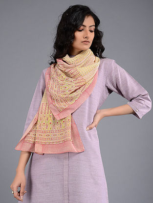 Yellow-Pink Block-printed Crepe Stole