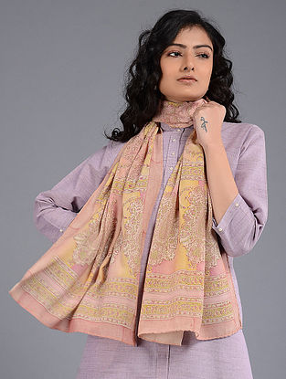 Pink-Yellow Block-printed Crepe Stole