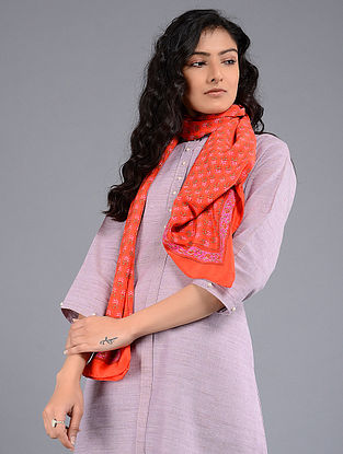 Red Block-printed Crepe Stole