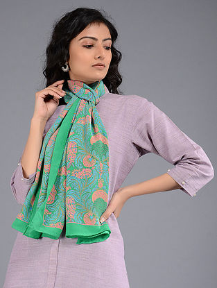 Green-Pink Block-printed Crepe Stole