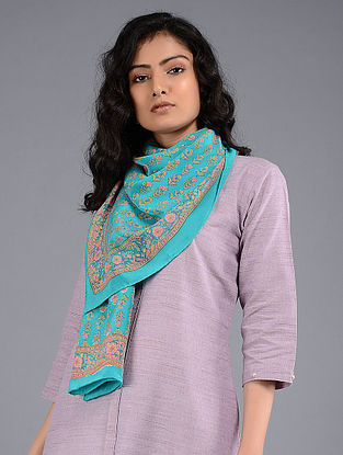 Turquoise-Pink Block-printed Crepe Stole