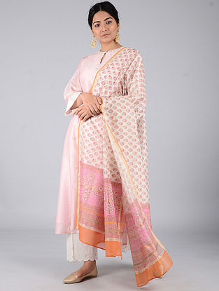 Ivory-Pink Block-printed Chanderi Dupatta with Zari