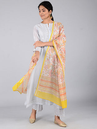 Ivory-Yellow Block-printed Chanderi Dupatta with Zari