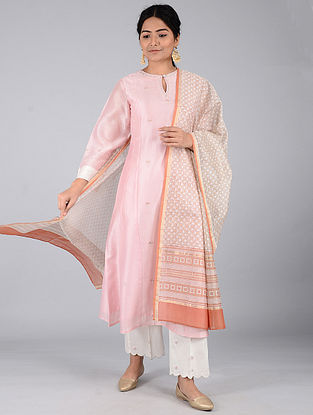 Rust-Beige Block-printed Chanderi Dupatta with Zari