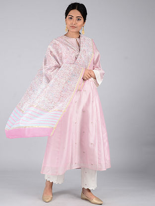 Pink-Blue Block-printed Chanderi Dupatta with Zari