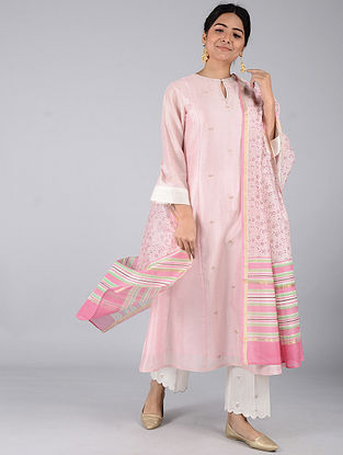 Pink-Green Block-printed Chanderi Dupatta with Zari