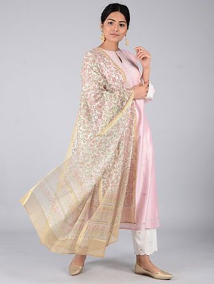 Beige-Green Block-printed Chanderi Dupatta with Zari