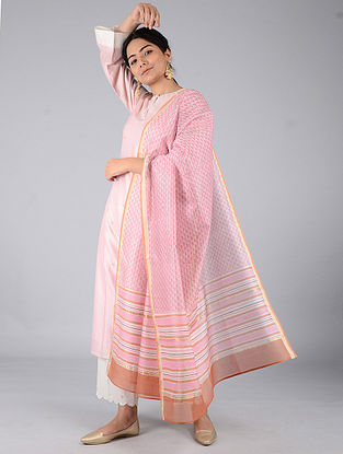 Pink-Rust Block-printed Chanderi Dupatta with Zari