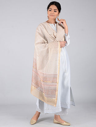 Beige-Pink Block-printed Chanderi Dupatta with Zari