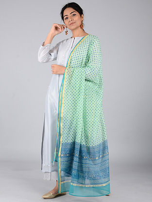 Green-Blue Block-printed Chanderi Dupatta with Zari