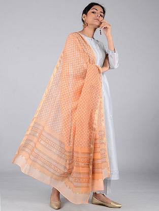 Orange Block-printed Chanderi Dupatta with Zari
