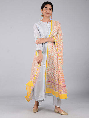 Ivory-Maroon Block-printed Chanderi Dupatta with Zari