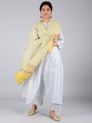 Yellow-Ivory Block-printed Chanderi Dupatta with Zari