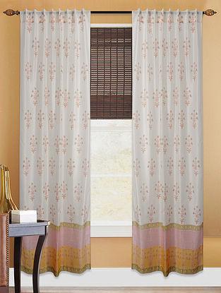 White-Yellow Hand-block Printed Cotton Chanderi Curtain