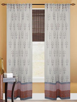 White-Brown Hand-block Printed Cotton Chanderi Curtain
