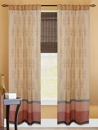 Brown-Grey Hand-block Printed Cotton Chanderi Curtain