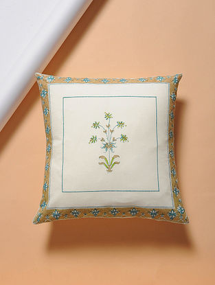 Beige-Turquoise Hand-block Printed Cotton Cushion Cover (16in x 16in)