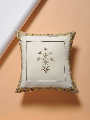 Beige-Brown Hand-block Printed Cotton Cushion Cover (16in x 16in)