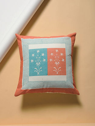 Orange-Blue Hand-block Printed Cotton Cushion Cover (16in x 16in)