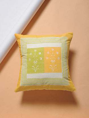 Yellow-Green Hand-block Printed Cotton Cushion Cover (16in x 16in)