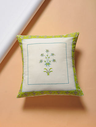 Green-Turquoise Hand-block Printed Cotton Cushion Cover (16in x 16in)