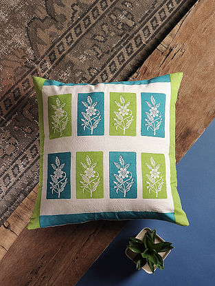 Azure Blue Handblock Printed Cotton Cushion Cover (16in x 16in)