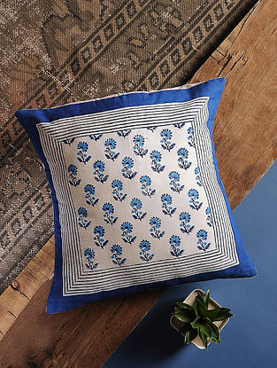 Navy Blue Handblock Printed Cotton Cushion Cover (16in x 16in)