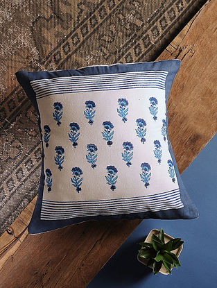 Persian Blue Handblock Printed Cotton Cushion Cover (16in x 16in)