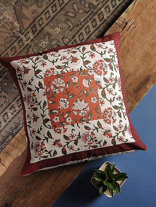Maroon Handblock Printed Cotton Cushion Cover (16in x 16in)