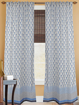 Persian Blue Handblock Printed Chanderi Curtain- 7ft.