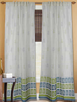 Azure Blue Handblock Printed Chanderi Curtain- 7ft.