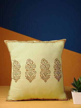 Lemon Yellow Handblock Printed Cotton Cushion Cover (15.5in X 15.5in)