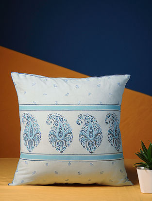 Turquoise Handblock Printed Cotton Cushion Cover (16in X 16In)